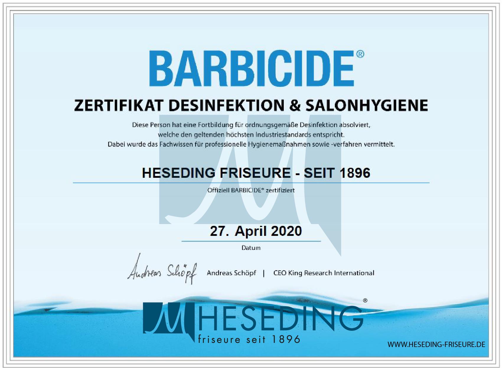 Hygienezertifikat Friseursalon Lohne Heseding Friseure